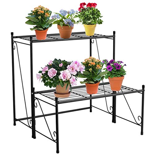 - DOEWORKS 2 Tier Metal Plant Stand Storage Rack Shelf, Flower Pot Holder Display Shelf, Black