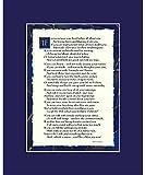 """If By Rudyard Kipling - If Poem Print 8x10"""" Dark Blue"""
