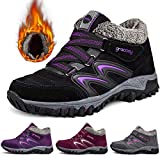 gracosy Women Hiking Boots, Winter Fur Lined Ankle Snow Boots High Top Hook Loop Sneakers Trekking Boots