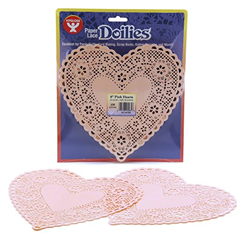 Hygloss Products Heart Paper Doilies – 8 Inch Pink Lace Doily for Decorations, Crafts, Parties, 100 Pack from Hygloss Products, Inc