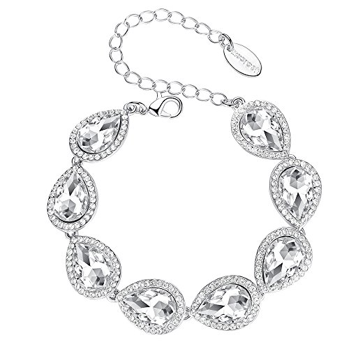 mecresh Flower Teardrop Clear Austrian Crystal Bracelet for Women or ()