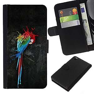 KingStore / Leather Etui en cuir / HTC DESIRE 816 / Loro Arte Pintura colorida de la acuarela del arte del pájaro