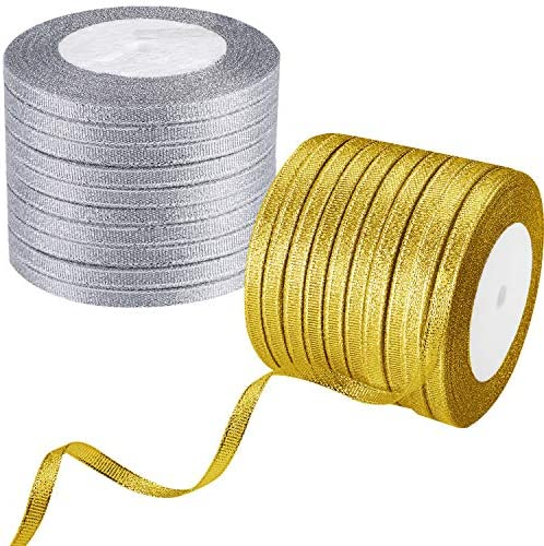 20 Rolls Glitter Ribbons Metallic Fabric Thin Ribbon for Gift Wrapping Decorations DIY Crafts Supplies 0.24 Inch 500 Yards (Gold and Silver)