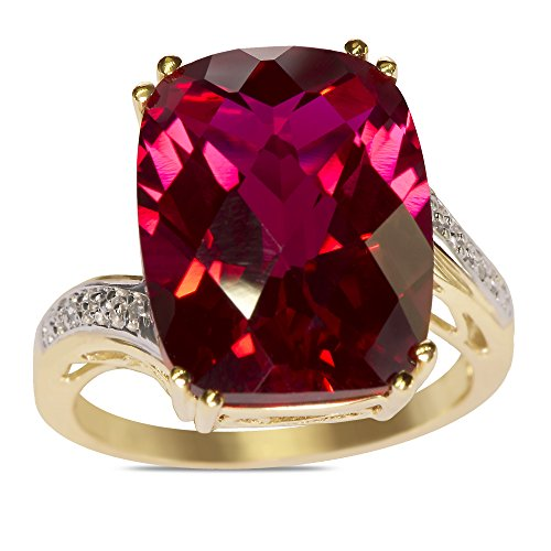 .02CT Diamond Created Ruby Ring in 10k Yellow Gold