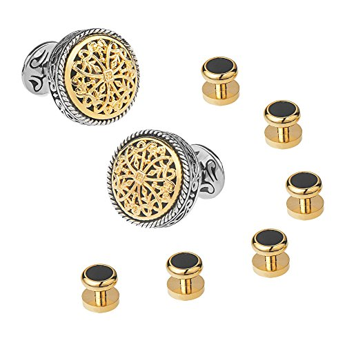 18K Gold Cufflinks and Shirt Studs Set Tuxedo Shirt Best Gifts for Men, Wedding, Business, with Luxury Gift Box - 18k Gold Cufflinks