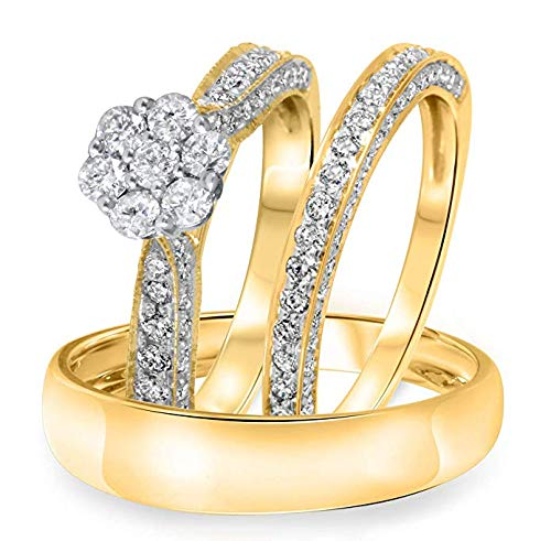 14k Yellow Gold Over Solitaire Men& Women Couple His & Hers Cluster Flower Trio Ring Bridal Couple Engagement Ring Band Matching Set Love Gift ()