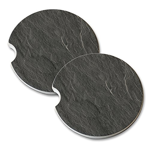 (Slate Grey Design - Car Cup Holder Natural Stone Drink Coaster Set)