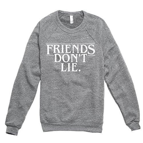 Friends Don't Lie Women's Premium Soft Knit Relaxed Fleece Pullover Sweater Heather Grey