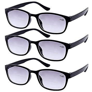 8d7e3462022 3 Pairs Tinted Bifocals Reading Glasses +1.00 Everyday Use Sun Readers  Eyewear Mens Womens Home