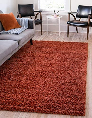 Unique Loom Solo Solid Shag Collection Modern Plush Terracotta Area Rug 2 2 x 3 0