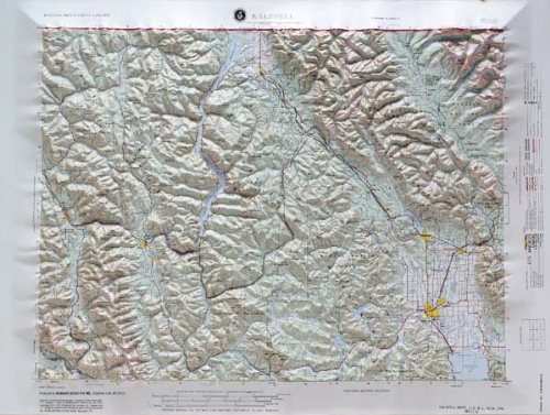 KALISPELL CITY REGIONAL Raised Relief Map in the states of Idaho and Montana with Black Plastic Frame (Idaho Relief Map)