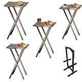 #6: Marble Tray Table Set of 4 with Stand Luxury Portable Laptop Rustic Farmhouse Foldable Artificial & eBook