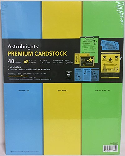 Astrobrights Premium Cardstock, 65 lb., 48 Sheets, 8.5 x 11 inches, 3 Assorted Colors Include Lunar Blue, Solar Yellow, Martian Green