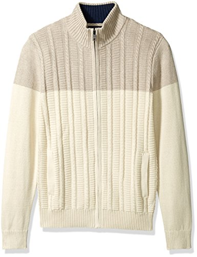 Nautica Men's Zip-Front Cable Knit Cardigan, Bone White, L