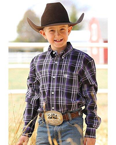 ng Sleeve Button Down Shirt Purple Small (Boys Cinch)