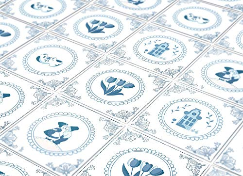 (Moonwallstickers Tiles Stickers Decals - Pack of 24 Tiles - 24 Individual Tiles - Tiles Decals (3.9 x 3.9 inches - 10 x 10 cm, Delft Tiles Blue Antique Art Illustration) )