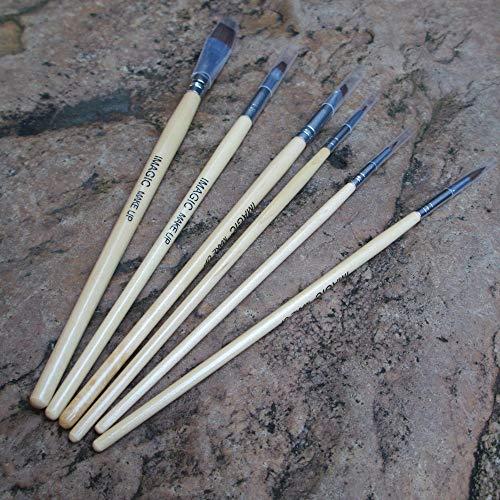LEERYAAY MakeUp Brushes IMAGIC 6Pcs Pro Makeup Brushes Tattoo Oil Paint Makeup Brushes Wood Handle ()