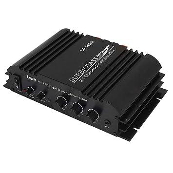 Haihuic Mini Amplificador de Potencia USB estéreo Amplificador de Audio Hi-Fi DE 2.1 Canales