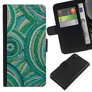 [Neutron-Star] Modelo colorido cuero de la carpeta del tirón del caso cubierta piel Holster Funda protecció Para Sony Xperia Z3 D6603 [Naturaleza Verde Patrón de mármol]