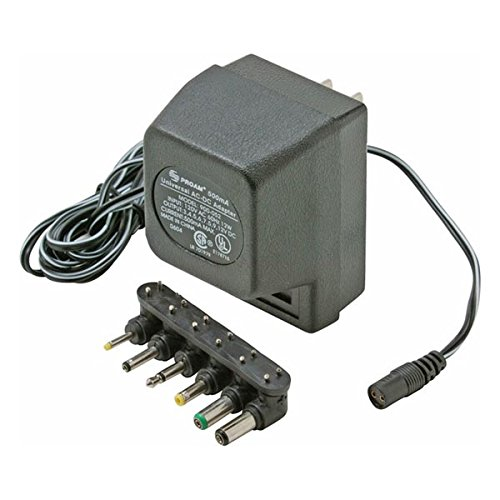 Universal Supply Adapter 500 mA AC/DC with 6 Detachable Plugs Converter Volt UL Transformer AC DC Power Adapter Supply 110 VAC 50-60 Hz with Switchable Voltage Outputs 3, 4.5, 6, 7.5, 9, 12 VDC