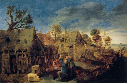 Artisoo Village Scene with Men Drinking - Oil painting reproduction 30'' x 20'' - Adriaen Brouwer