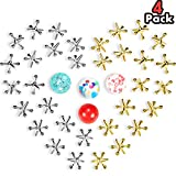 4 Sets Jacks Game Toys Kit, Include 40 Pieces Metal Jacks and 4 Pieces Rubber Bounce Balls for Kids and Adults