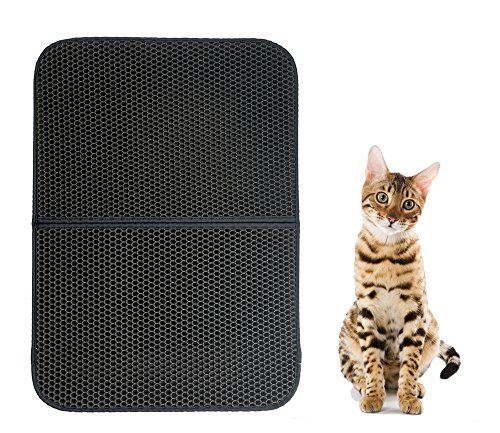 MCBOSON 30X22 Inch Black Double-Layer Honeycomb Cat Litter Trapper Mat,Non-Toxic Soft Waterproof Litter-Trapping Repel Urine
