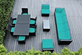 Genuine Ohana Outdoor Sectional Sofa and Dining Wicker Patio Furniture Set (14 pc set) with Free Patio Cover
