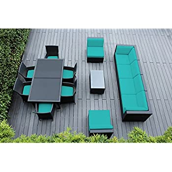 Genuine Ohana Outdoor Sectional Sofa And Dining Wicker Patio Furniture Set  (14 Pc Set)