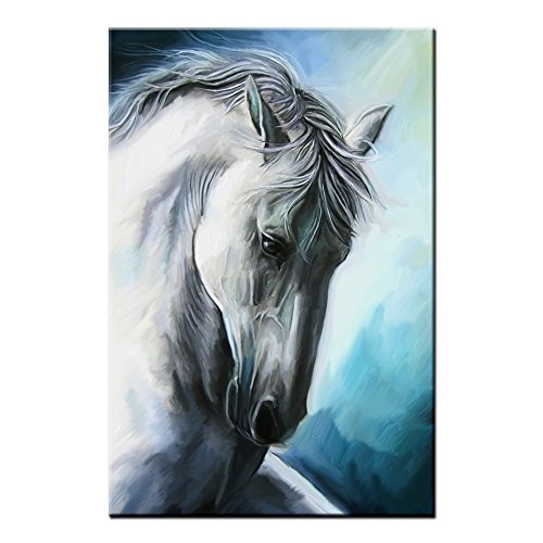 Framed Animal Canvas Art Prints White Horse Painting Wall Art Canvas Painting Print For Living Room Home Decoration (Medium)