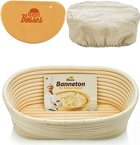 10 Inch Oval Banneton Proofing Basket - Sourdough Bread Proving Baskets w/Bowl Scraper, Brotform Cloth Liner, Starter Recipe for Baking - Making Dough w/Rising Bannetons Banetton Benneton Proof Set by Bread Bosses
