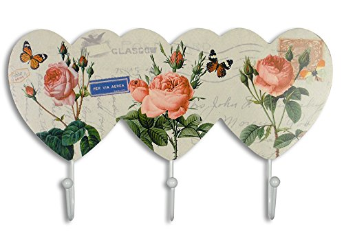 Decorative Wall Hooks - Pink Rose Wall Key Holder with Butterflies Flowers - Vintage European Post Card Letter Pattern - 3 White Metal Hooks - 11.5 Inch Wide from Banberry Designs