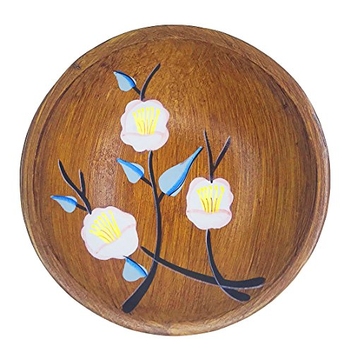 Japanese Style Hand Painting Round Shape Flower Pattern Wooden Plate For Fruit Candy Dish Tray