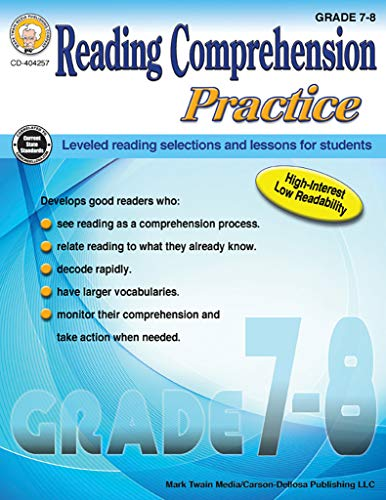 Carson-Dellosa Reading Comprehension Practice Resource Book, Grades 7-8 (Differentiated Instructional Strategies For Science Grades K 8)
