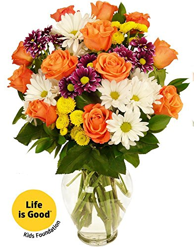 Benchmark Bouquets Life is Good Flowers Orange, With Vase