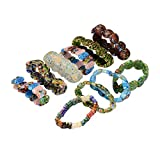 10 PCS Mixed Handmade Round Colorful Millefiori Lampwork Glass Beads Stretch Bracelets