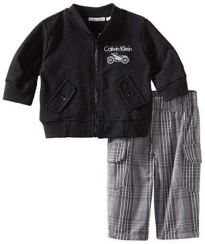 Calvin Klein Baby-Boys Newborn Jacket With Plaid Pants