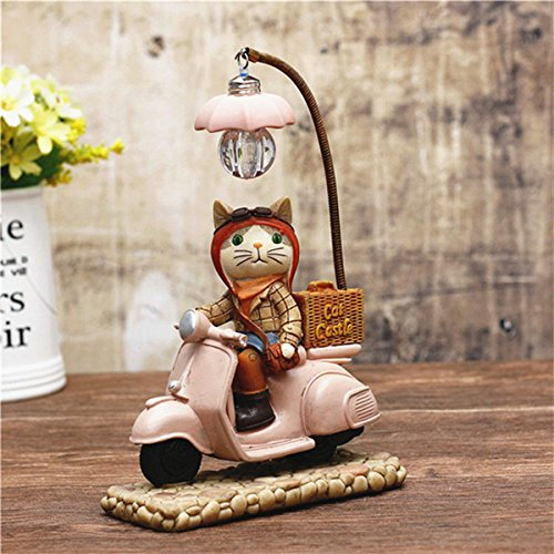 Blue Stones Retro Style Cat Motor Led Night Light Cartoon Rsin Craft Kids Home Decor Table Lamp Ornaments Birthday Wedding Xmas Gifts