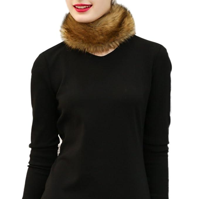 Fastar Mujeres chales de piel boleros bufanda calentador de cuello para el abrigo de invierno (