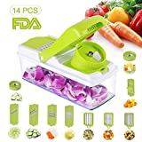 Kithouse Chopper Vegetable Mandoline Slicer Veggie Spiralizer Food Dicer Cutter Onion Salad Potato Chopper Fruit Kitchen Cheese Grater Professional For Spaghetti Pasta Low Carb Meals, 14pcs