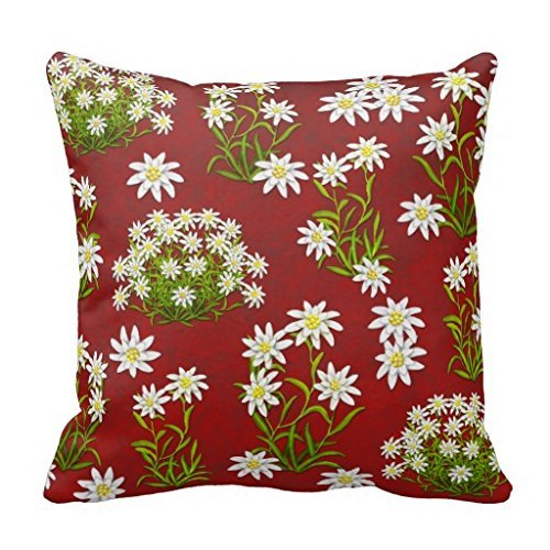 B Lyster shop Edelweiss Alpine Flowers #3121W Cotton & Polyester Soft Zippered Cushion Throw Case Pillow Case Cover