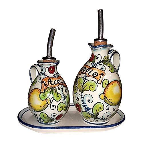 CERAMICHE D'ARTE PARRINI - Italian Ceramic Set Cruet Oil And Vinegar + Small Tray Art Pottery Hand Painted Made in ITALY Tuscan