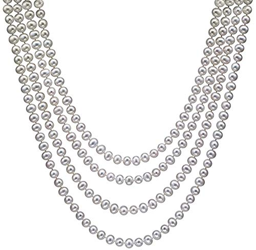 HinsonGayle AAA Handpicked 6-6.5mm White Freshwater Cultured Pearl Rope Necklace 82 inch Infinity Strand-82 in length ()
