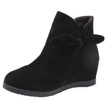 Mujer botas planos bowknot,Sonnena ❤ Zapatos de cuña de ante con punta redonda de ante de las mujeres Zapatos de color puro con cremallera Casual Boots: ...