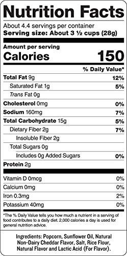 SkinnyPop White Cheddar Popped Popcorn, 4.4oz Grocery Sized Bag