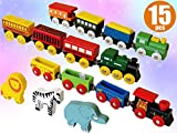 Toys : ToysOpoly Wooden Train Set 12 PCS - Magnetic Engines with 3 Bonus Animals - Deluxe Toys for Kids Toddler Boys and Girls - Compatible to Thomas Railway, Brio Tracks, and Major Brands