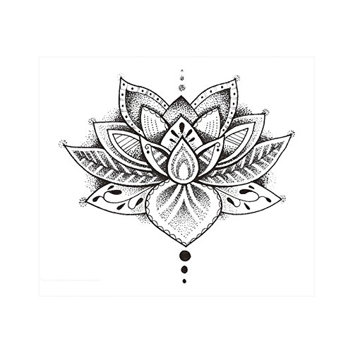 Set of 2 Waterproof Temporary Fake Tattoo Stickers Vintage Elegant Grey Flowers