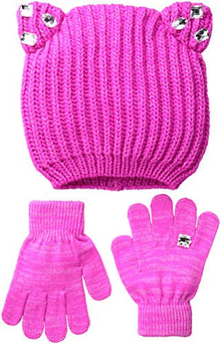 Toby & Company Big Girls Chunky Gauge Cat Ear Hat 2 Piece Set, Pink Sugar, 4-14 (Hat Pink Sugar)