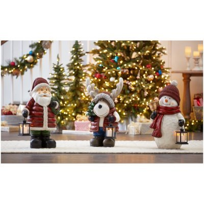 Holiday Christmas 27'' Tall Extra Large Figurine Greeter with LED Candle Lantern (Santa) by Members Mark (Image #1)