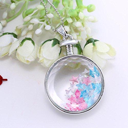Angelof Femmes à Sec Fleur Coeur Verre Souhaitant Collier Pendentif Bouteille(Blanc)